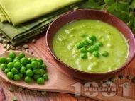 Рецепта Супа от грах, моркови и лук и застройка с кисело мляко и яйца